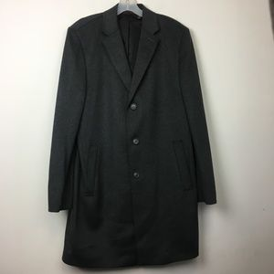 Pronto Uomo Gray Wool Blend 3 Button Overcoat
